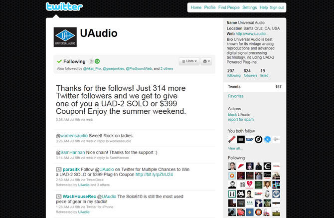 Follow Universal Audio on Twitter and you can win a UAD-2 Solo or $399 Plugin Coupon