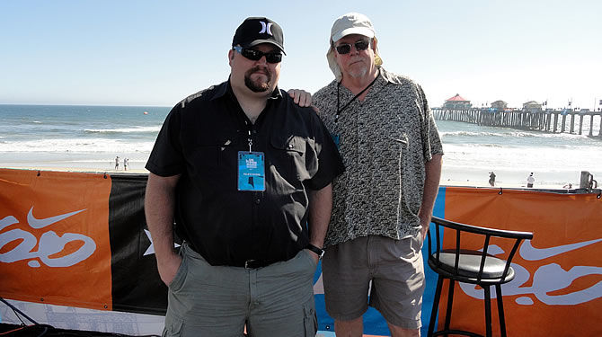 Sound Designer Gary Vahling and John Coffey during the US Open of Surfing