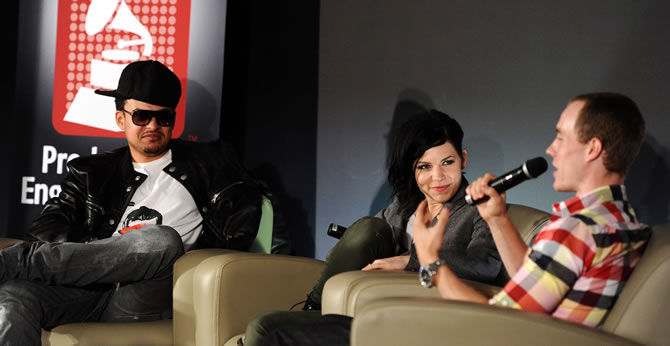 Interactive panelists Alex da Kid and Skylar Grey with moderator DJ Skee. Photo Credit: Courtesy of The Recording Academy / Wireimage.com © 2011. Photographed by: Michael Buckner.